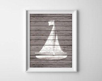 Nautical Sailboat Wood Art Prints   Rustic Nautical Decor   Beach House Bathroom  Decor   Sail