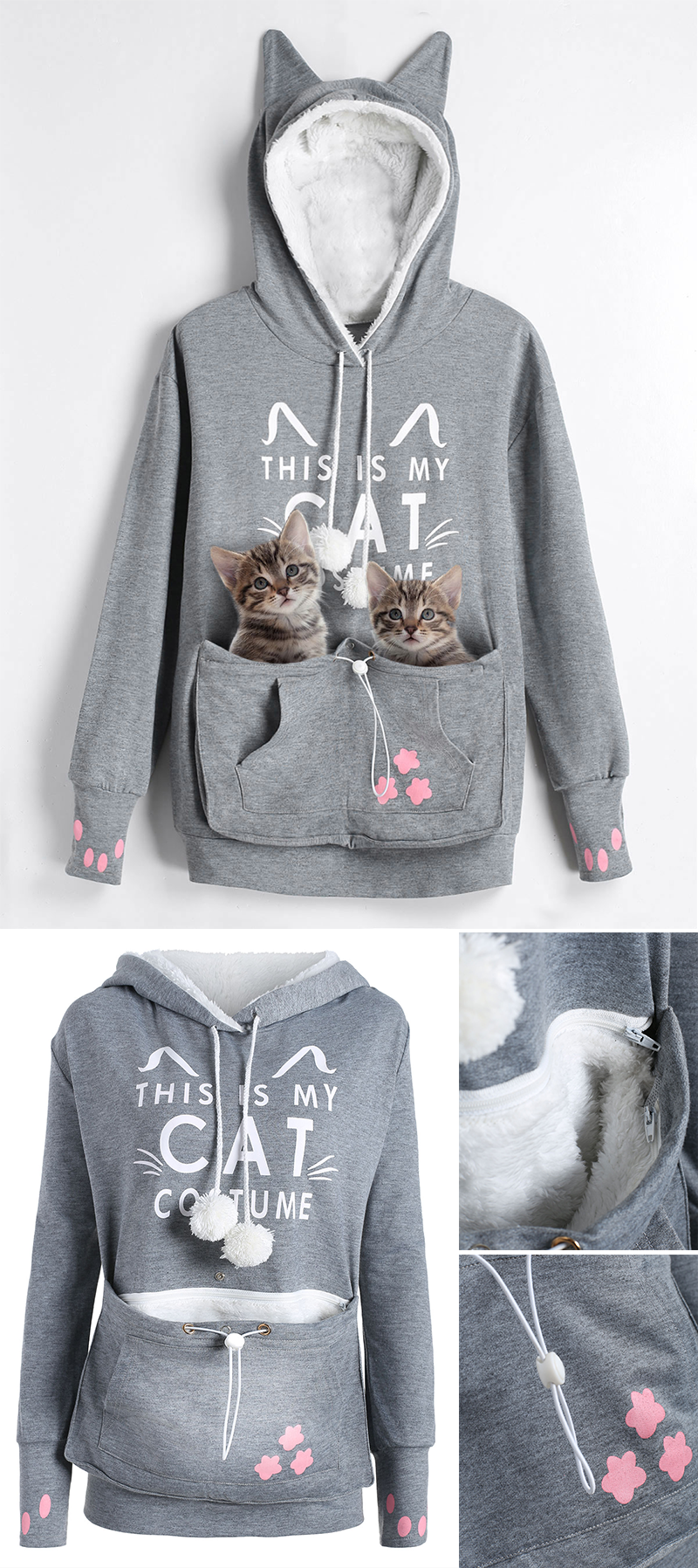 3f0103a21e Plus Size Cat Holder Pouch Pocket Hoodie