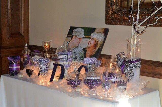 Purple Candy Bar idea (love the lights under the tulle)   Dallas ...