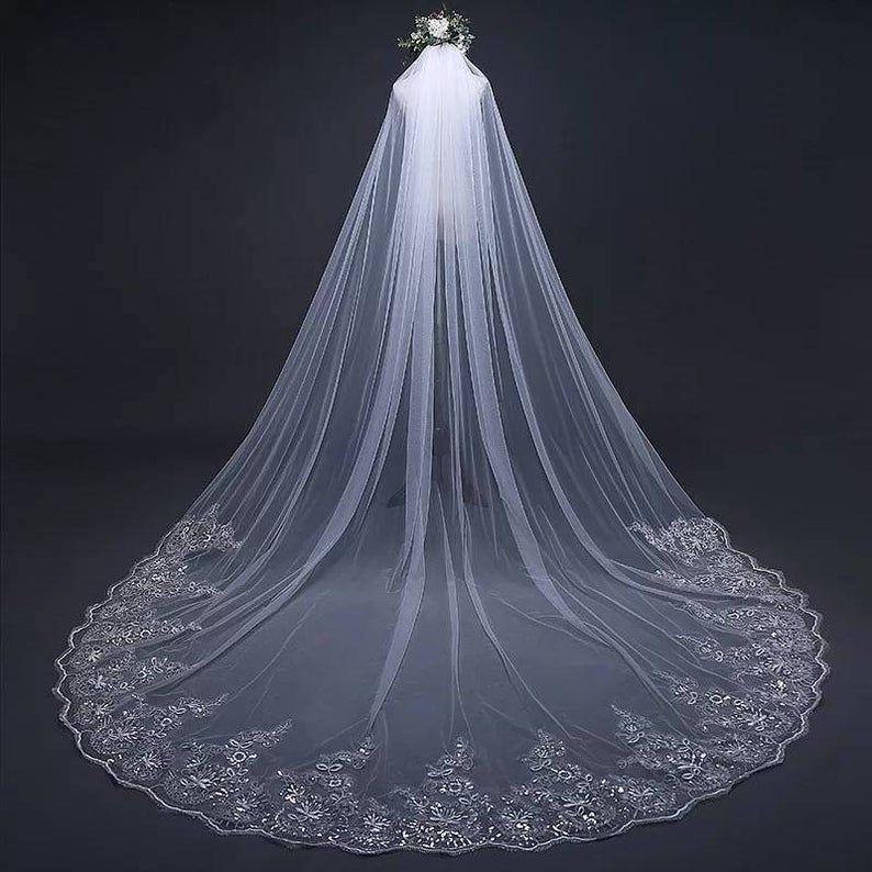 Premium Sparkling Cathedral Veil Ivory Or White Wedding Veil Crystal Luxury In 2020 Long Veil Wedding Wedding Veils Lace Bride Veil