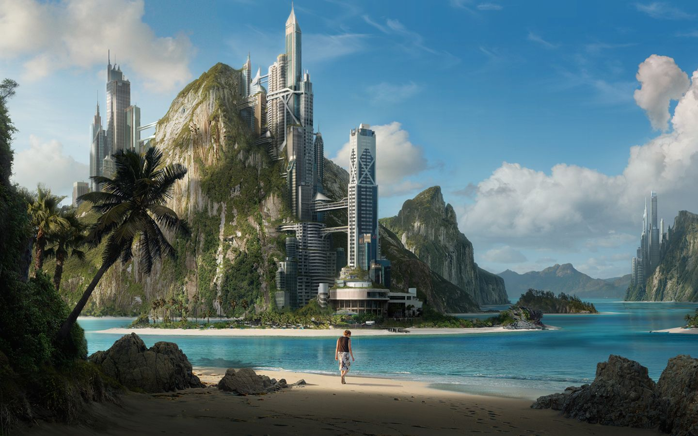 City built into a mountain AND on a tropical island!    (51459.jpg (1440×900) -- http://wall.alphacoders.com/big.php?i=51459)
