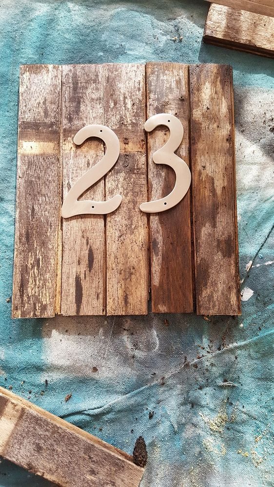 Upcycled House Number Sign House numbers, Rustic house