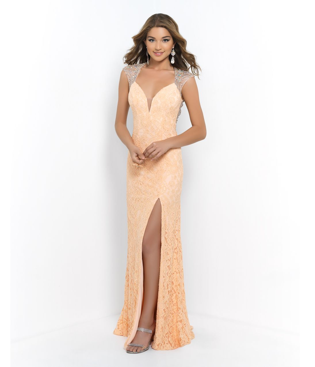 Prom peach beaded cap sleeve open back lace gown prom