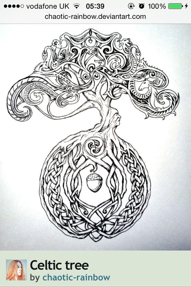 tattoo golden acorn tatouage celtique tatouage arbre. Black Bedroom Furniture Sets. Home Design Ideas