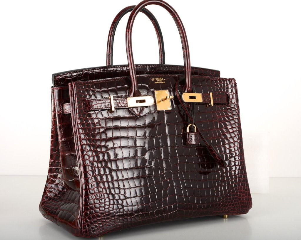 7a99c59ce1 BI COLOR HERMES BIRKIN BAG 35cm BORDEAUX CROCODILE GOLD HARDWARE image 3
