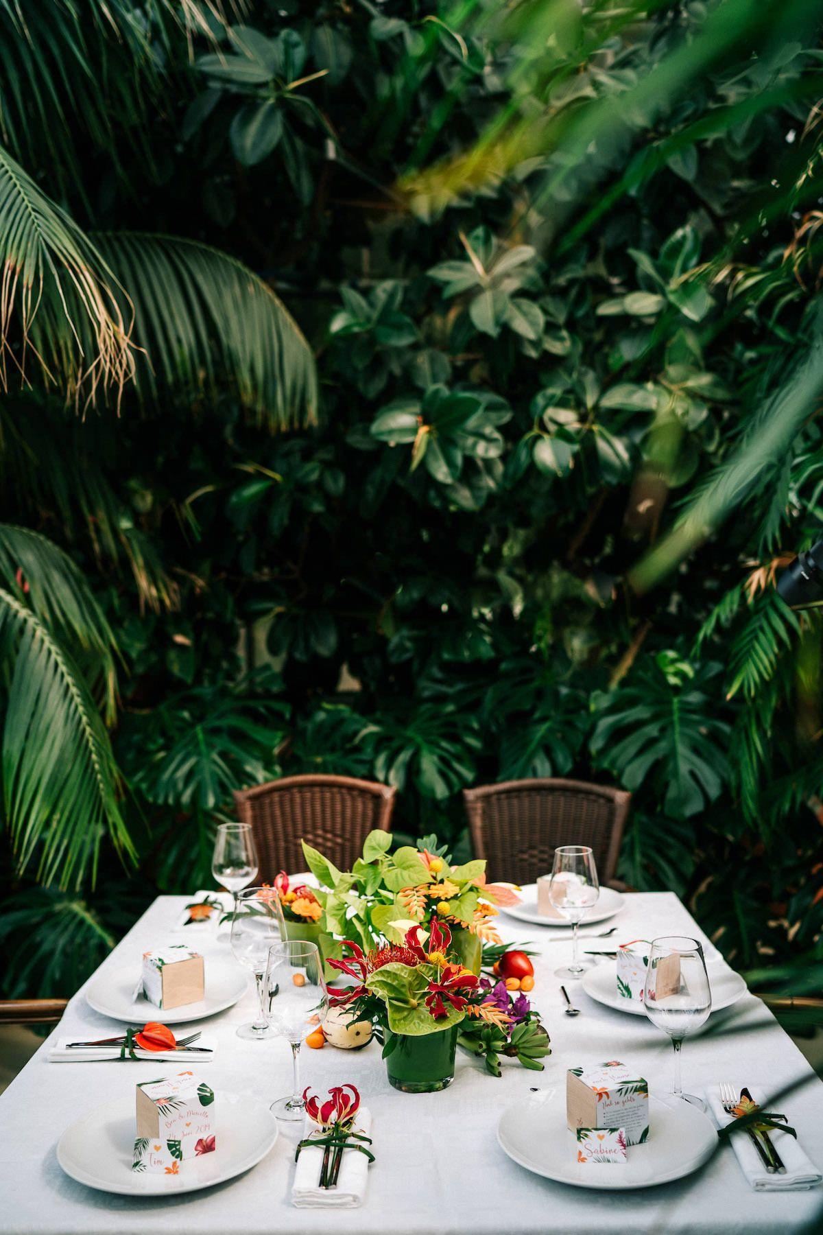 Tischdeko Tropical Wedding Tischdekoration Hochzeit Tropisch