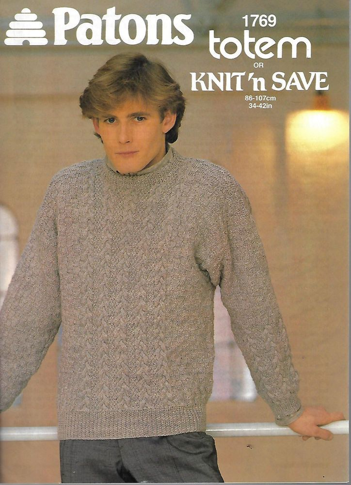 Mens Cable Aran Sweater Patons 1769 Knitting Pattern Winter Dk Yarn