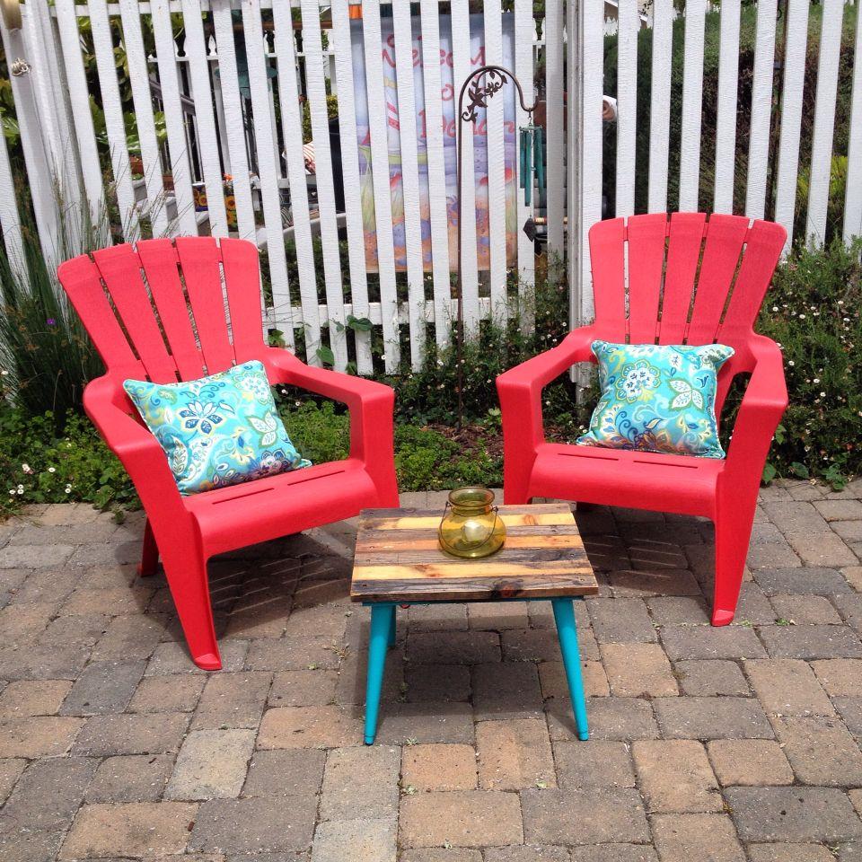 Seating area with affordable u repurposed items adirondacks