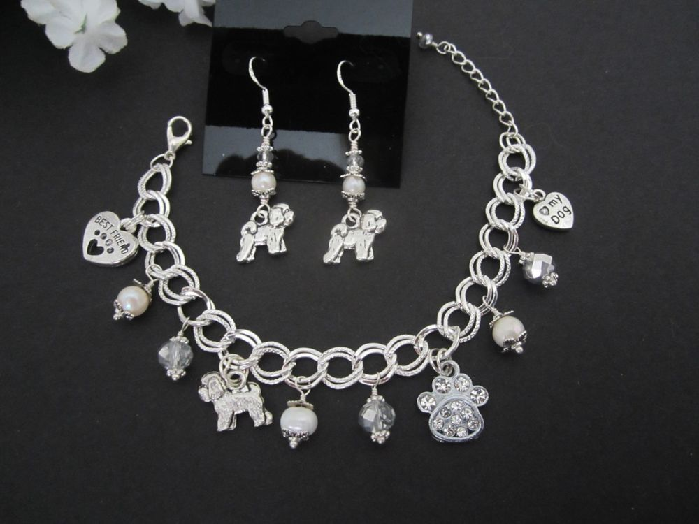 Schnauzer Dog Charm Bracelet /& Earrings with F Water Pearls /&  Crystals