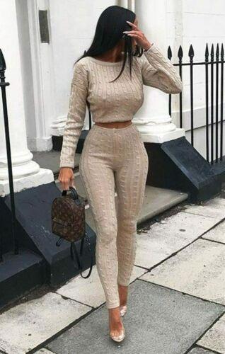NEW Ladies Co Ord Crop Top Legging Set Womens 2pcs Loungewear Suit Tracksuit