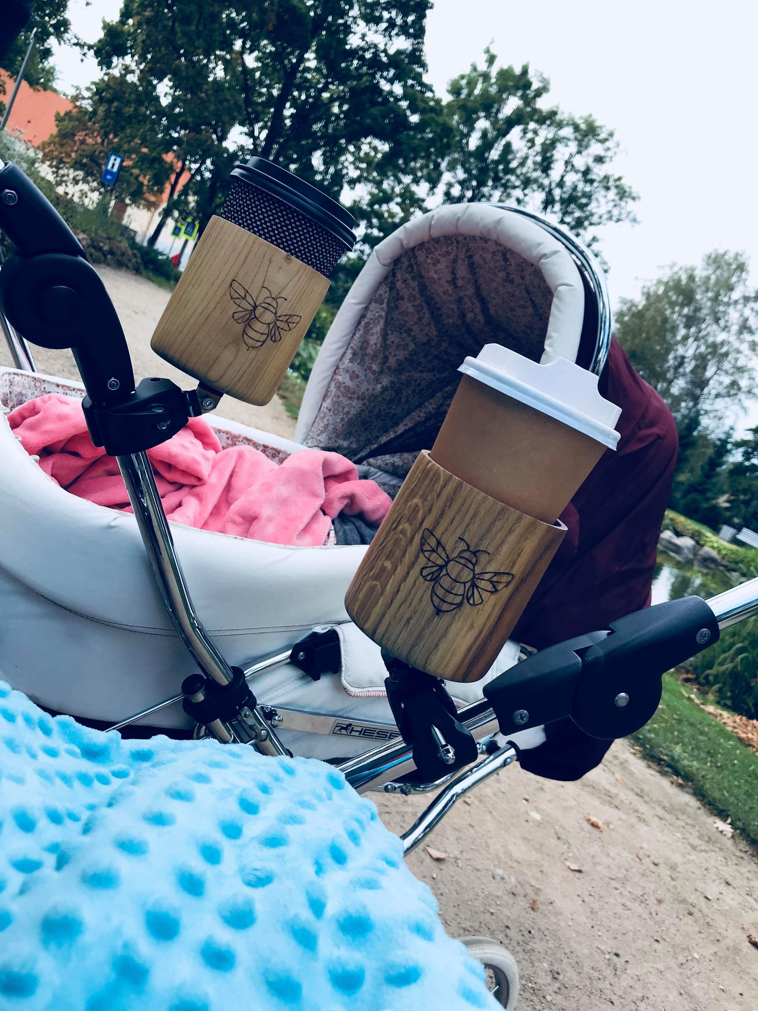 Hand made wooden bicycle & stroller cup holders. by