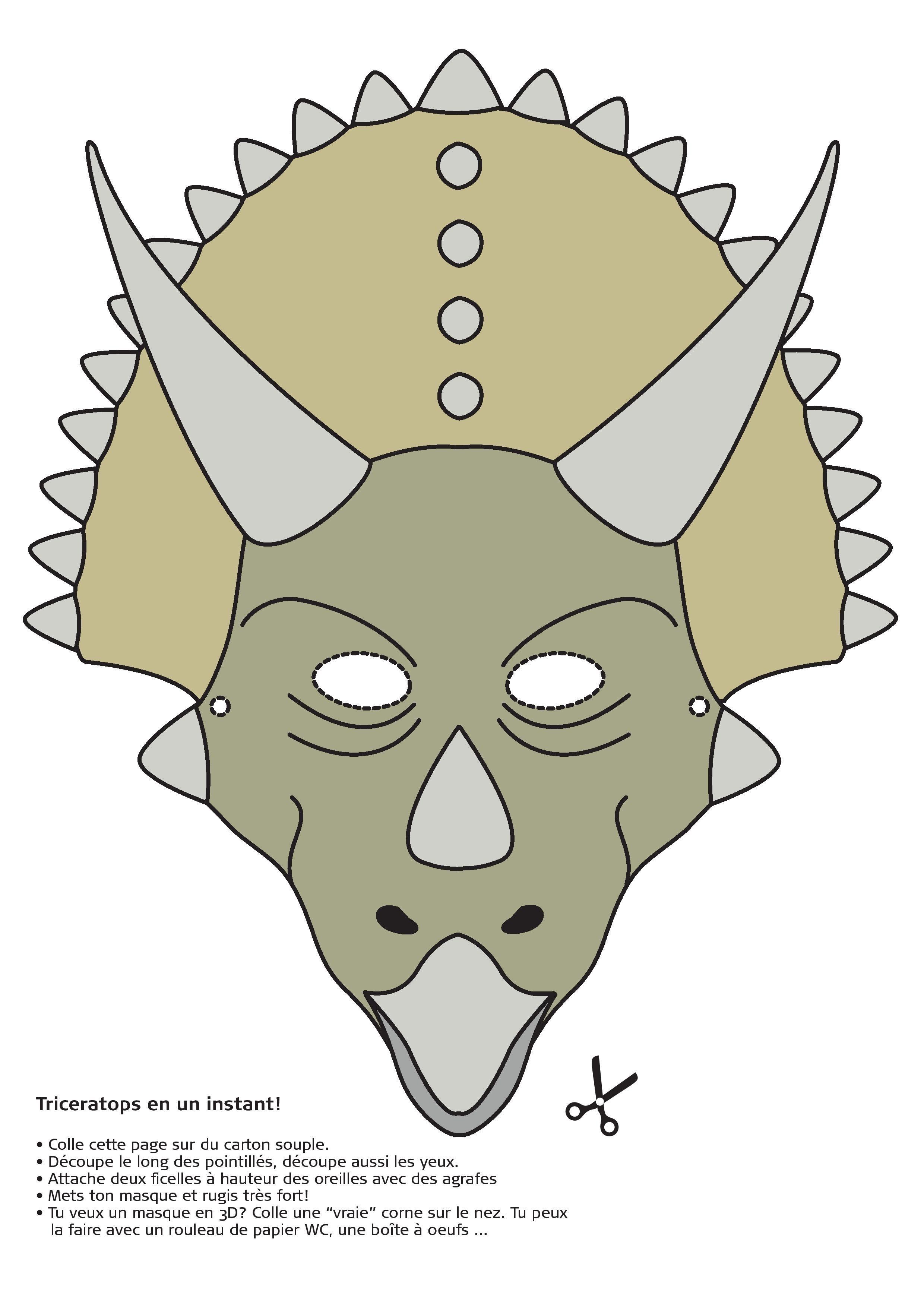 Masque de Triceratops (marche à suivre en FR) - Institut royal des ...