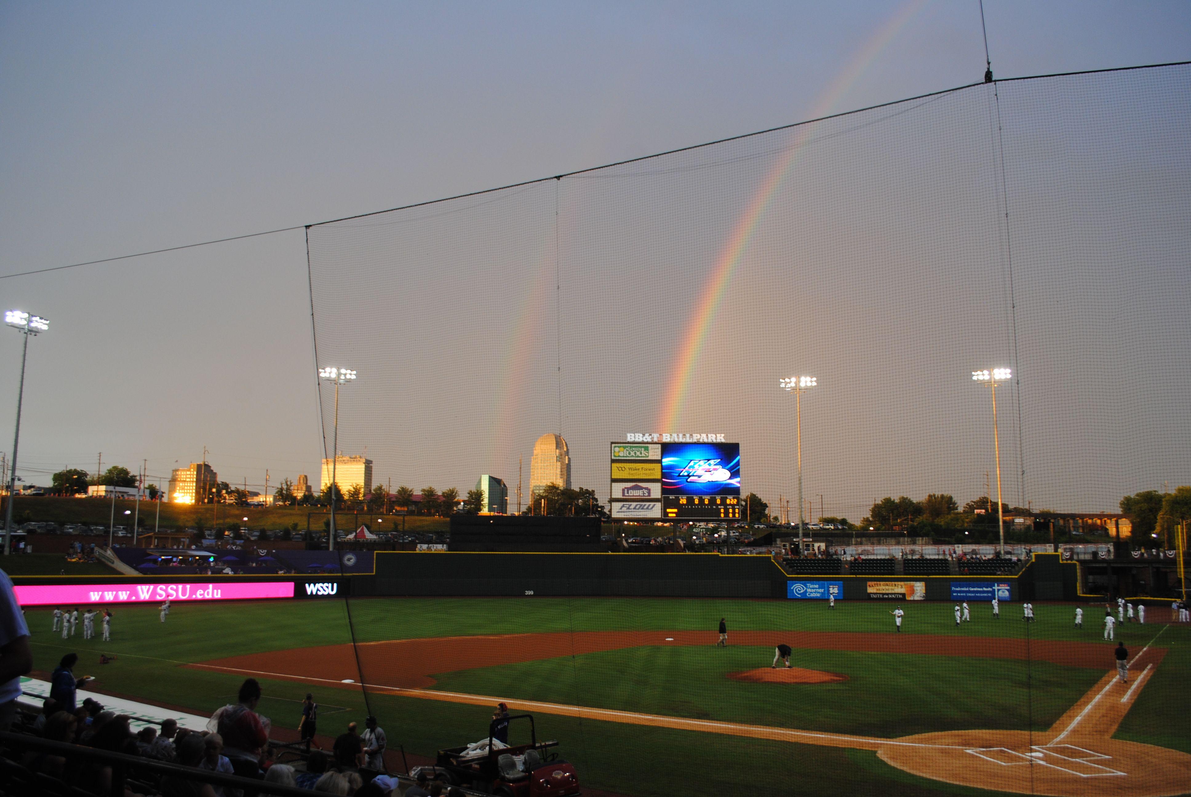 Double Rainbow At Bb T Ballpark In Winston Salem Winston Salem Ballparks City