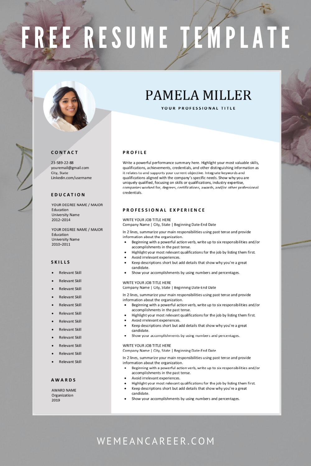 Looking For A Free Editable Resume Template Sign Up For Our Job Search Tips And Download Thi In 2020 Resume Template Downloadable Resume Template Job Resume Template