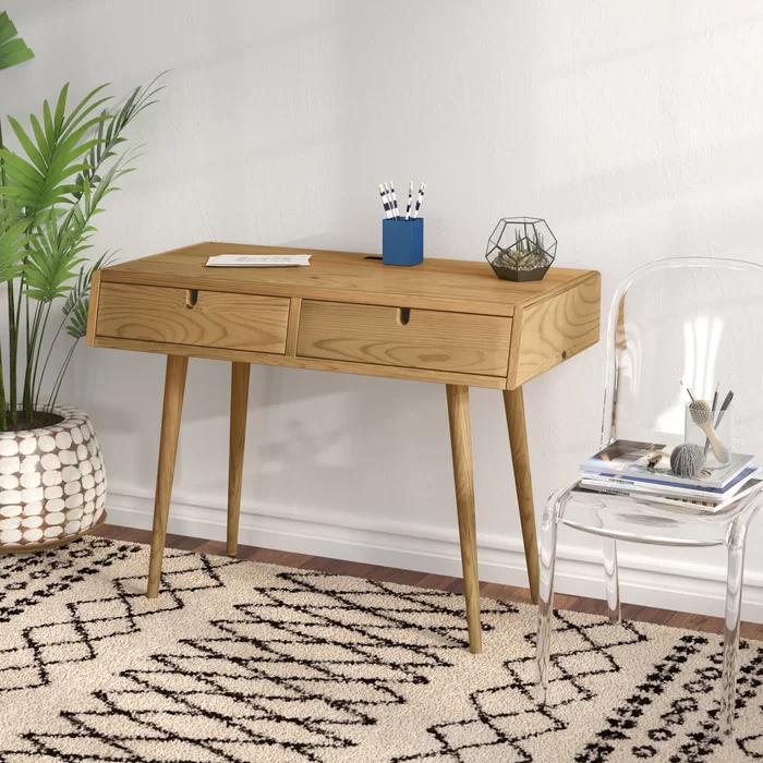 Aldrich Solid Wood Writing Desk In 2020 Wood Writing Desk Writing Desk Furniture