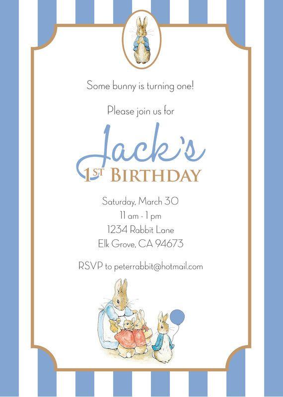 Peter Rabbit Birthday Invitation Boy By Lizbasseystudios 18 00