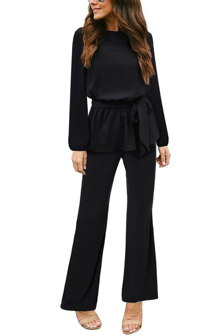 564c3d34f82c What s New    Being sexy without showing so much skin is definitely  possible when you have this black long sleeves slit-back peplum jumpsuit.  Shop one here.