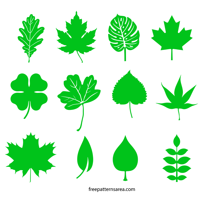 Leaf Silhouette Vectors And Templates Freepatternsarea Leaf Template Leaf Silhouette Flower Template