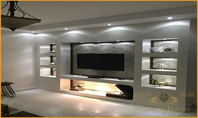 ديكورات شاشات جبس بورد Living Room Wall Designs Dark Wood Living Room Tv Wall Design