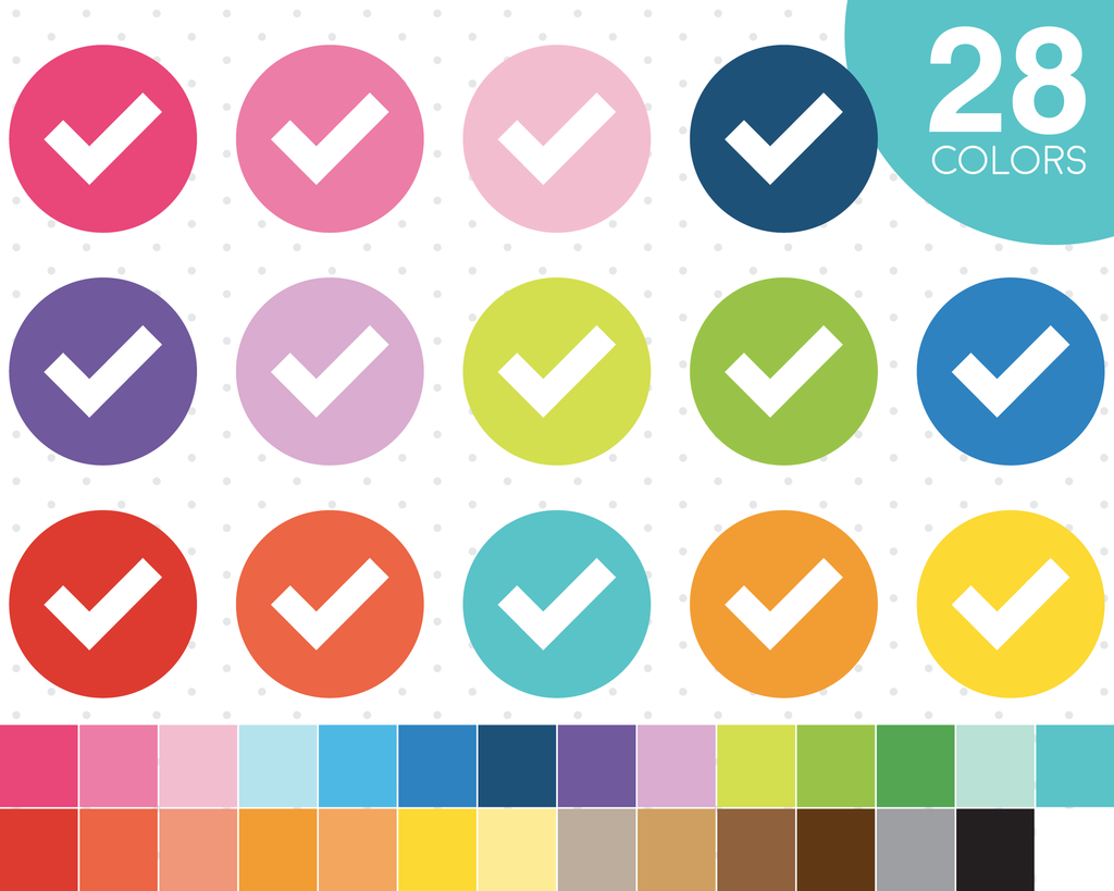 Download Checkmark Clipart In 28 Colors Planner Clipart Icons Cl 574 Design Your Own Planner Planner Stickers Planner