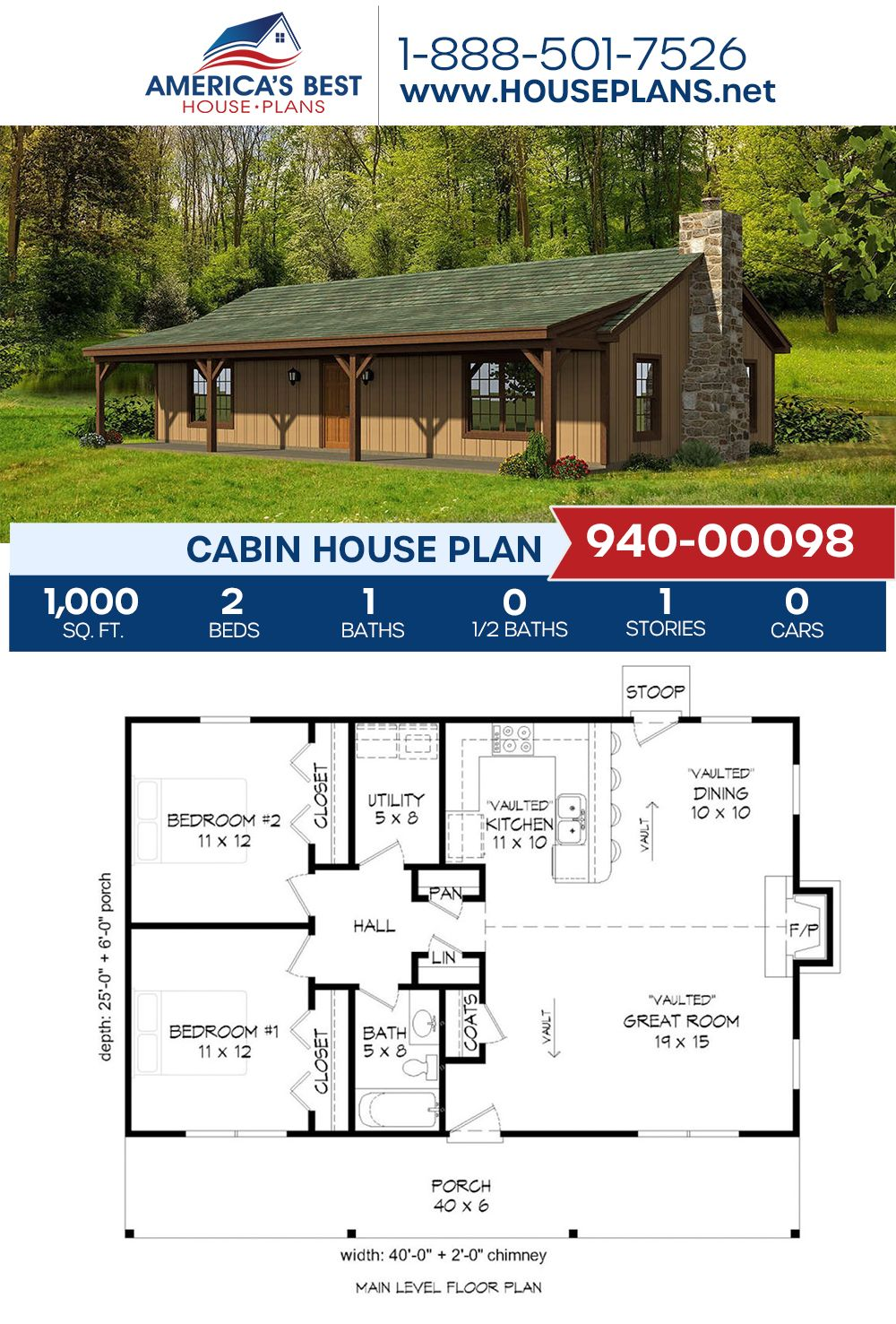 House Plan 940 00098 Cabin Plan 1 000 Square Feet 2 Bedrooms 1 Bathroom Cabin House Plans House Plans Cabin Homes