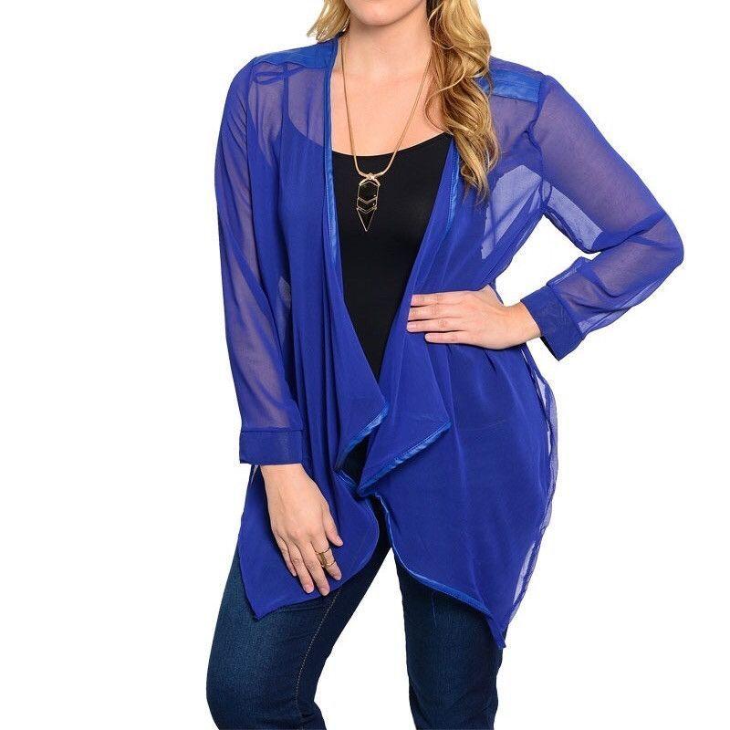 Plus Size Asymmetric Hem Sheer Chiffon Cardigan in Blue   New ...