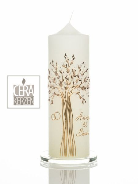 Hochzeitskerze Lebensbaum Gold Hochzeitskerze Kerze Hochzeit