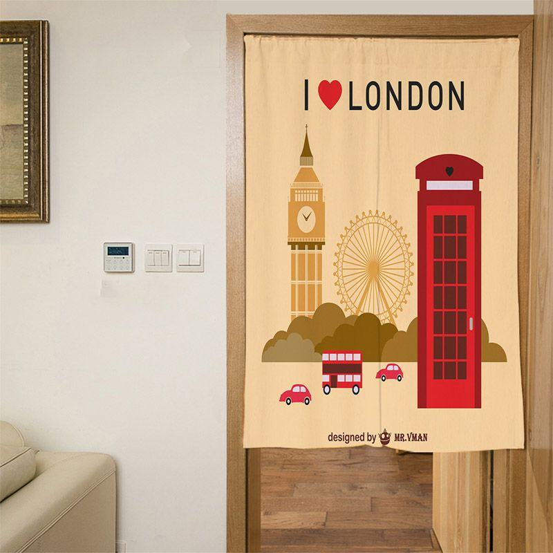 Cartoon London Short Curtains Polyester White England Hanging