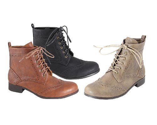 ANNA ROXY-1 Women's Wind Tip Back Pull Tab Lace Up Ankle Boots, Color:TAUPE, Size:6.5