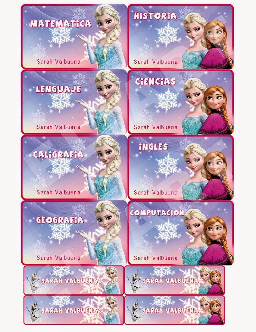 Kit de Etiquetas Escolares Frozen En Formato Digital con alta ...