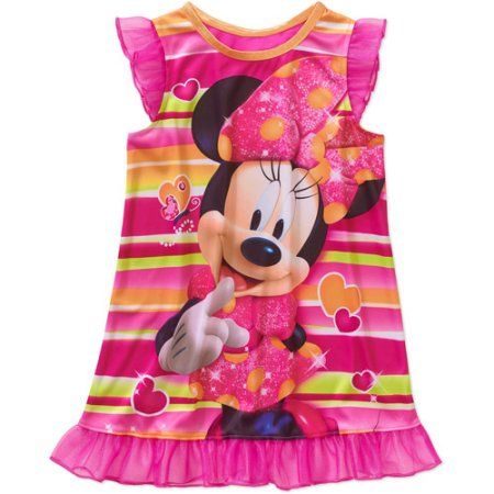 Minnie Mouse Baby Toddler Girl Short Sleeve Nightgown, Size: 12 Months, Pink