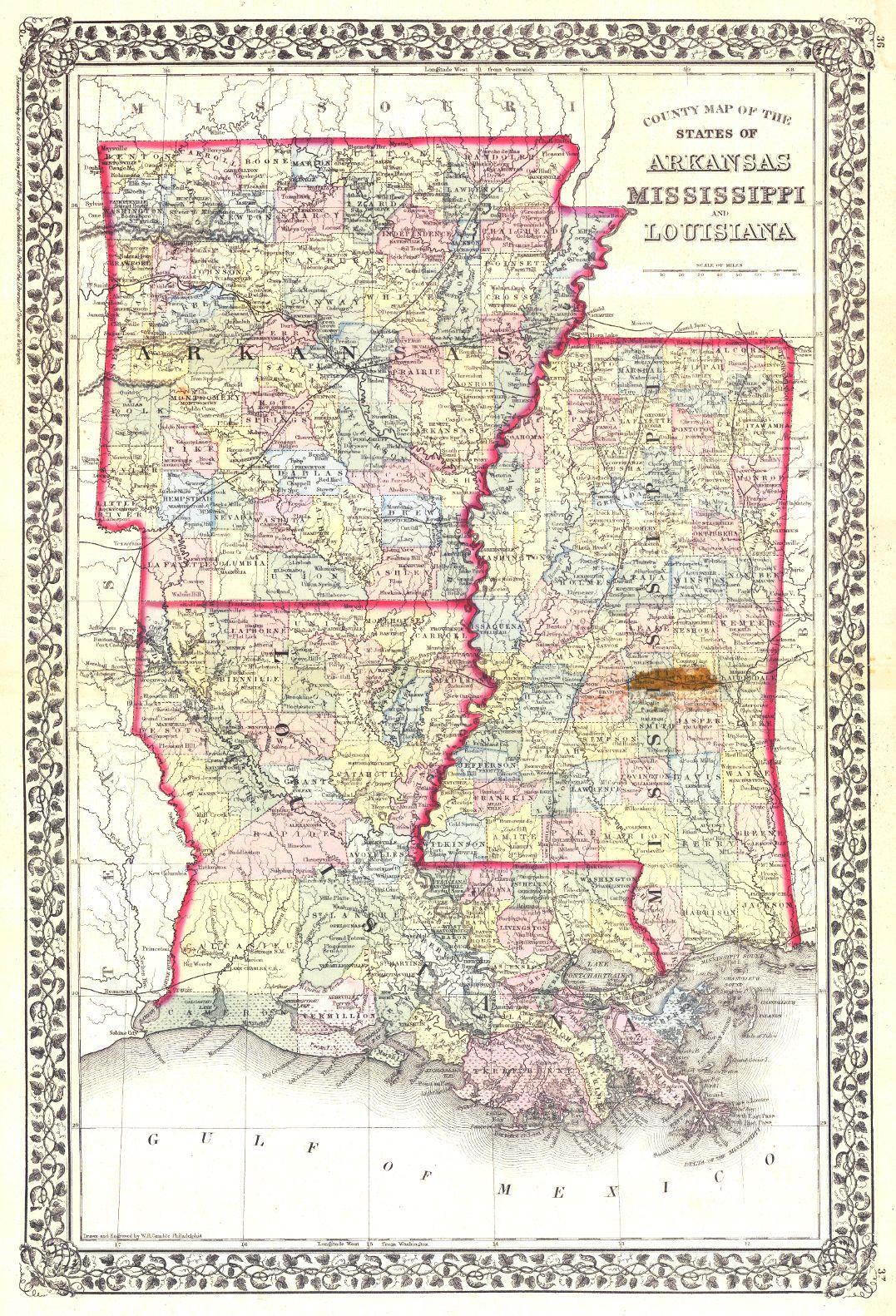 Arkansas And Louisiana Map.County Map Of The States Of Arkansas Mississippi And Louisiana S