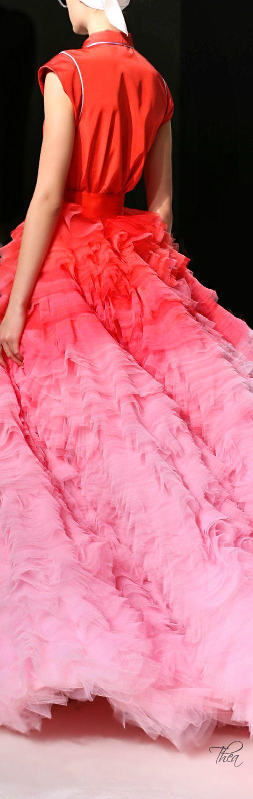 Giambattista Valli ~ Haute Couture Chiffon Gown, Ombre Red-Pink, 2014-15
