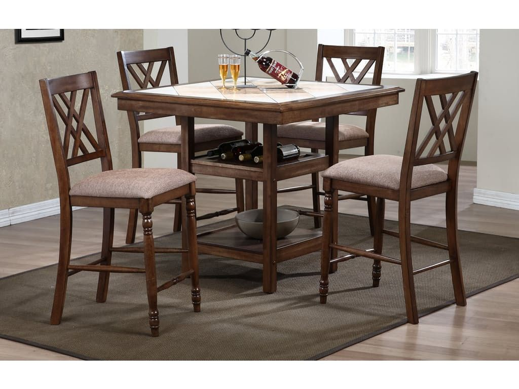 Winners ly Dining Room 40 Inches Tile Top Tall Table With Shelves