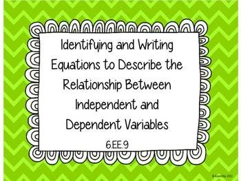 Understanding Independent and Dependent Variables Task Cards 6.EE.9