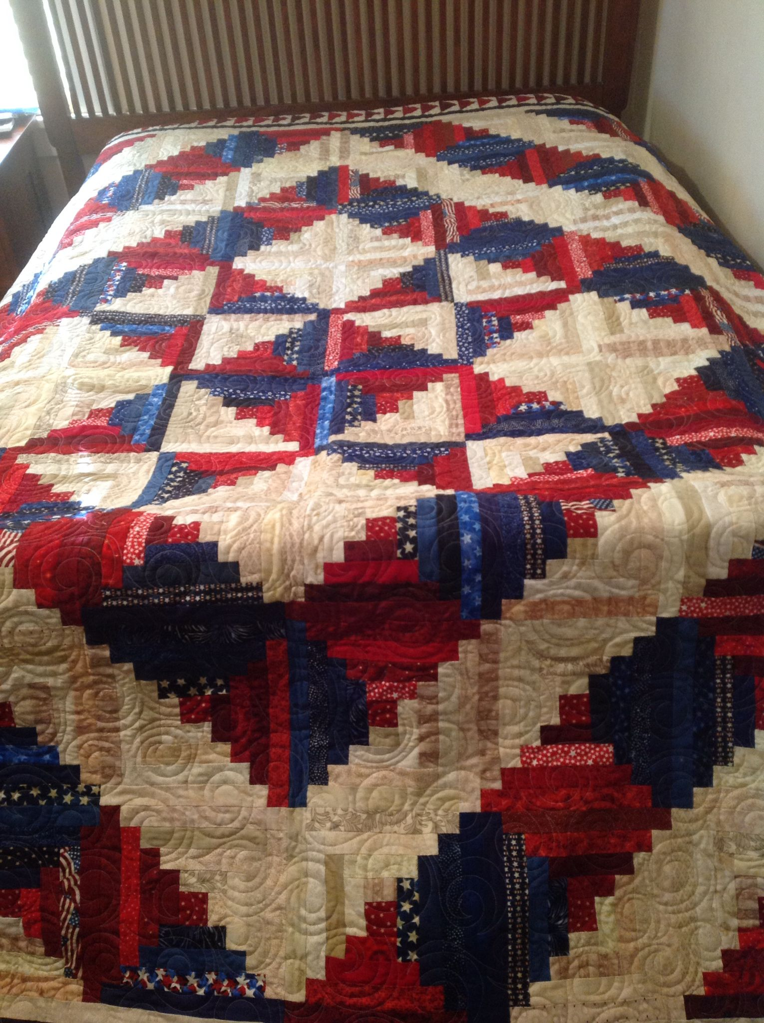 Patriotic Red White Blue Star Log Cabin Quilt Log Cabin Quilt Pattern Log Cabin Quilts Patriotic Quilts