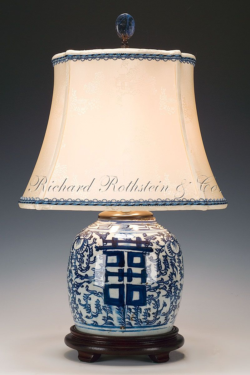 Pair Of Antique Chinese Export Porcelain Ginger Jar Lamps Blue