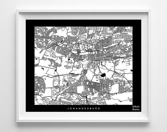 South Africa Johannesburg Print Map Poster by InkistPrints on Etsy