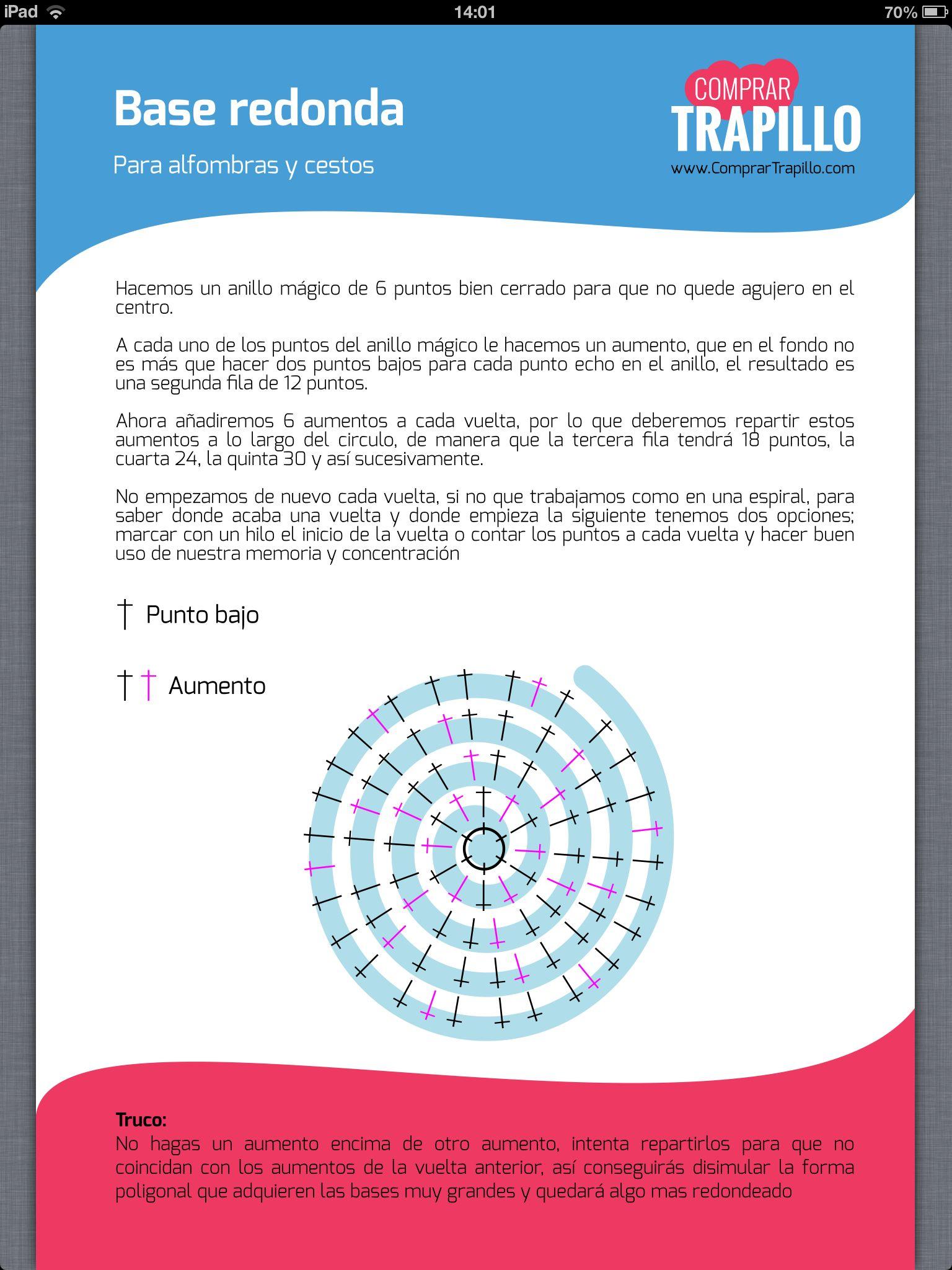 Tutorial base redonda | MOCHILAS | Pinterest | Trapillo, Tutoriales ...
