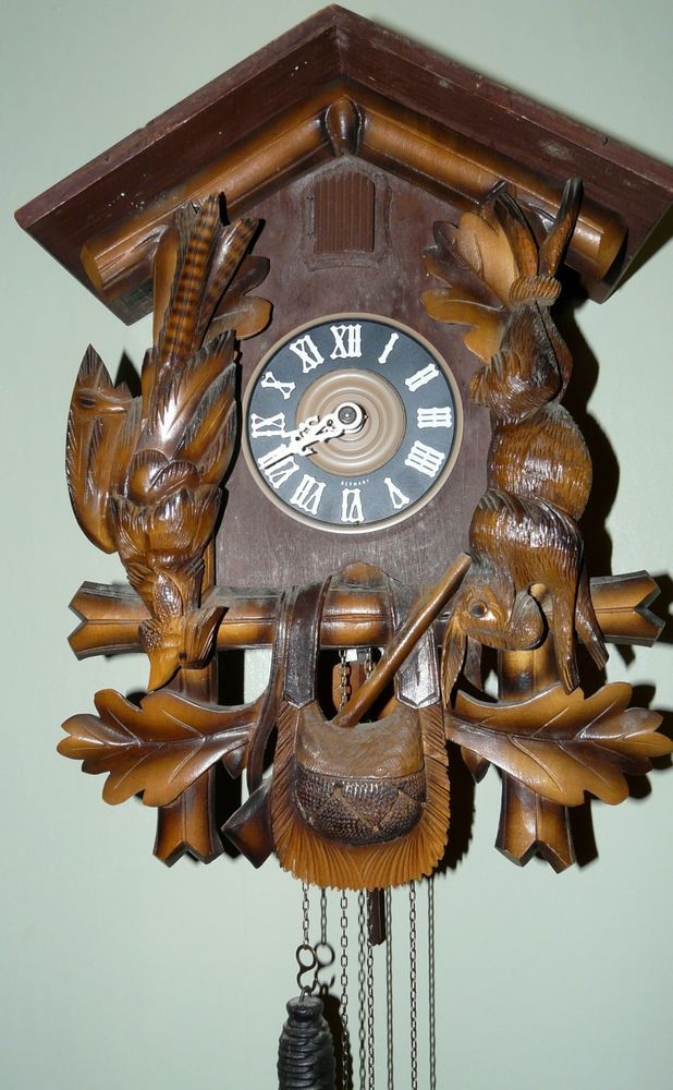 antique black forest cuckoo clock stag top with rabbit pheasant pouch - Black Forest Cuckoo Clocks
