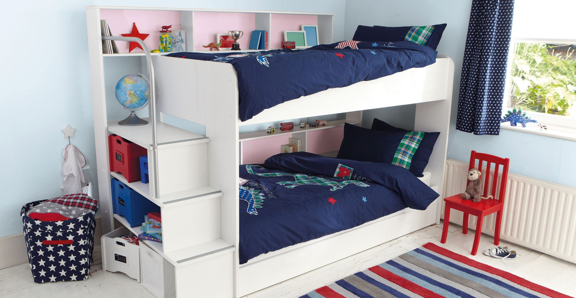 Summit White Full Panel Bed With 2Drawer Captain Trundle