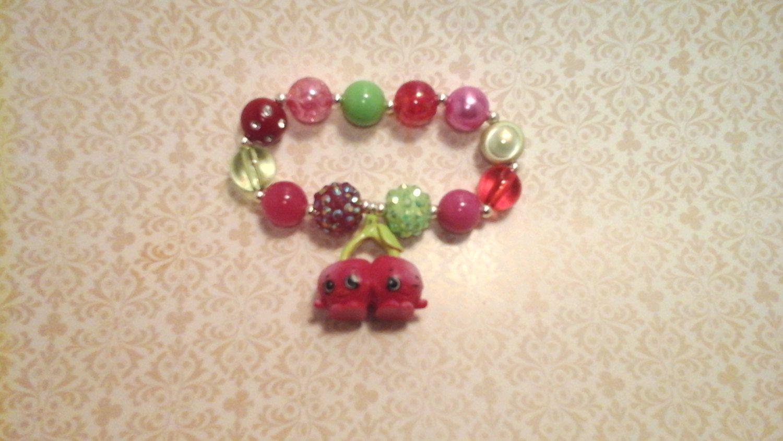 Shopkins Season 4 Cheeky Cherries Bracelet By BeadedPerfection On Etsy