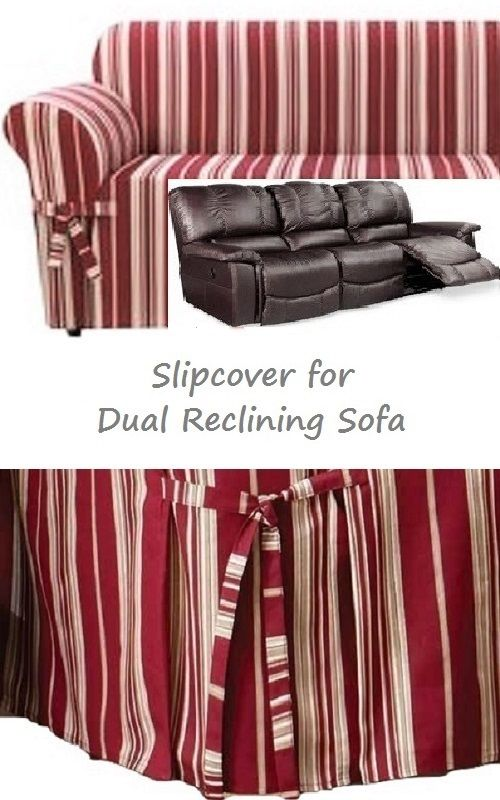 Dual Reclining Sofa Slipcover City Stripe Burgundy Adapted For Recliner
