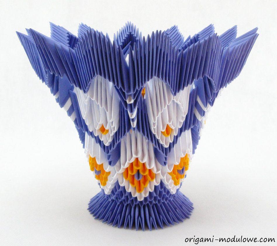 Modular Origami Vase 2 By Origamimodulowe On Deviantart Swantutorial Blue39s Chinese 3d Swan Diagram