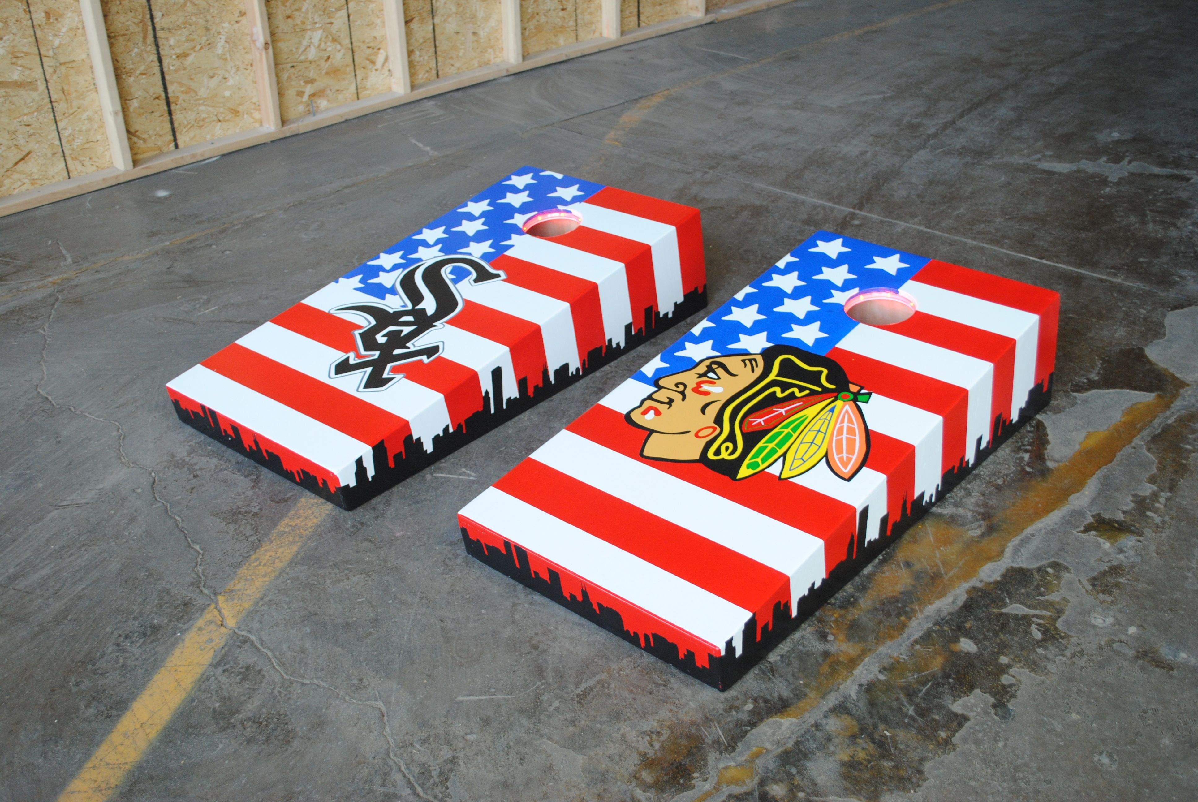 """our """"best"""" work. hand painted blackhawks and white sox themed"""