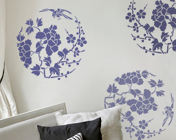 Stencil for Walls - Floral stencil in the Round with Bird - Large