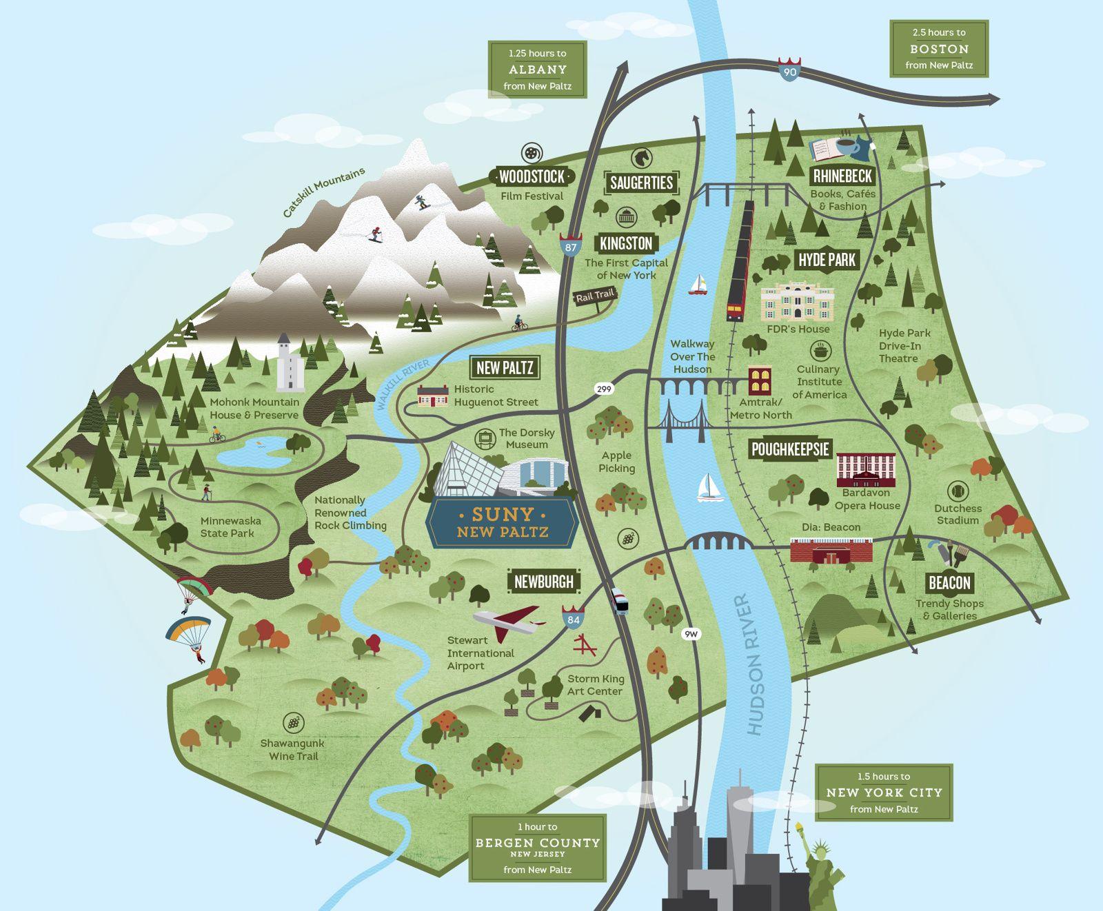SUNY New Paltz Illustrated Tourism Map Cinder Design Co