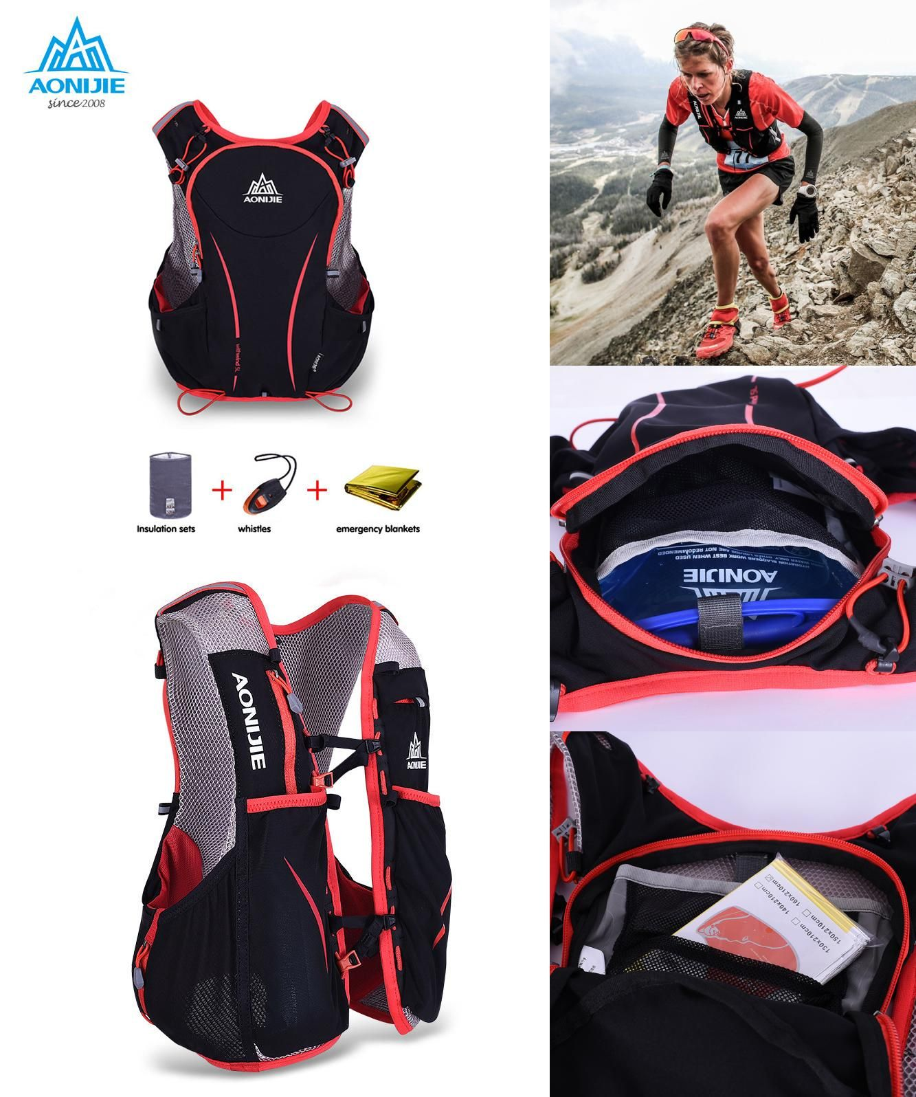 f37f0efa52 [Visit to Buy] AONIJIE 5L Outdoor Sports Backpack Women / Men Marathon  Hydration Vest Pack for Exchange Cycling Hiking Water Bag #Advertisement