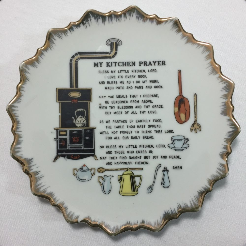 Decorative Kitchen Wall Plates Vintage My Kitchen Prayer Wall Plate Plaque 1960s Great