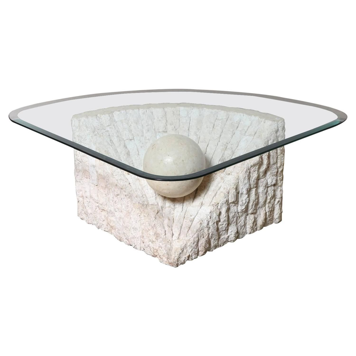 Triangular Marble And Travertine Coffee Table With Beveled Edge Glass Top 1